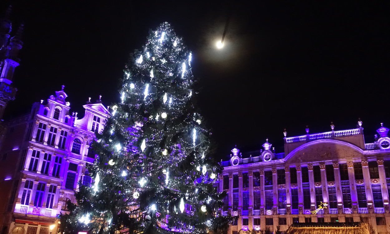 Brussels Grand Place moon over Christmas tree