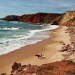 Praia do Amado surfers on beach